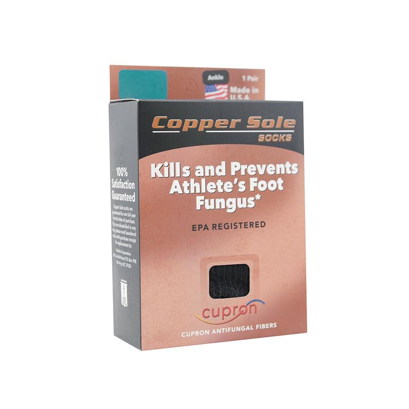 Copper Sole Premium Athletic Ankle Socks With Cupron Black XL 1pr