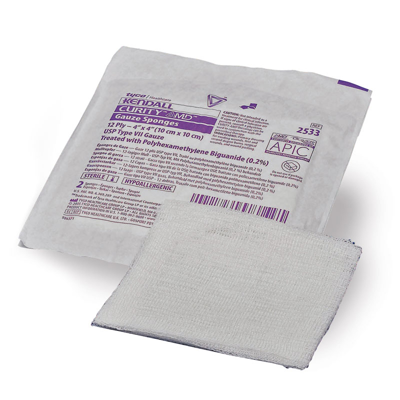 Covidien Curity AMD Antimicrobial 12-Ply Gauze Sponge 4x4 1200ct