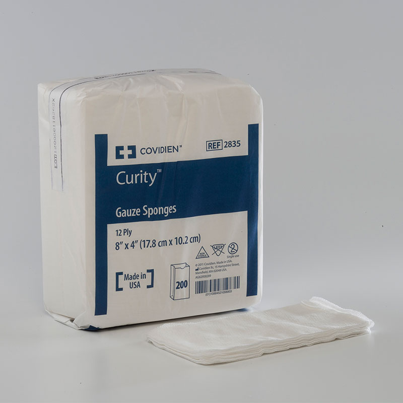 Covidien Curity 12-Ply Non Sterile Gauze Sponge 4x8 200ct Pack of 3