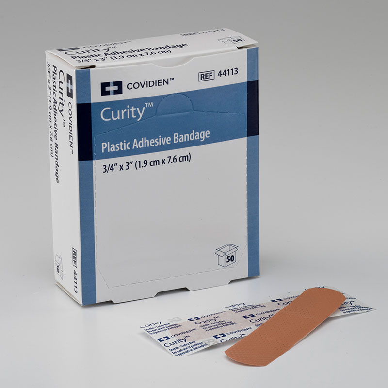 Covidien Curity Plastic Adhesive Bandage Rectangle .75x3 3600ct