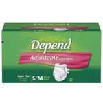Depend Adjustable Underwear SM/MED 18/bag
