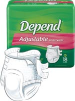 Depend Refastenable Protective Underwear SM/MED 18/bag