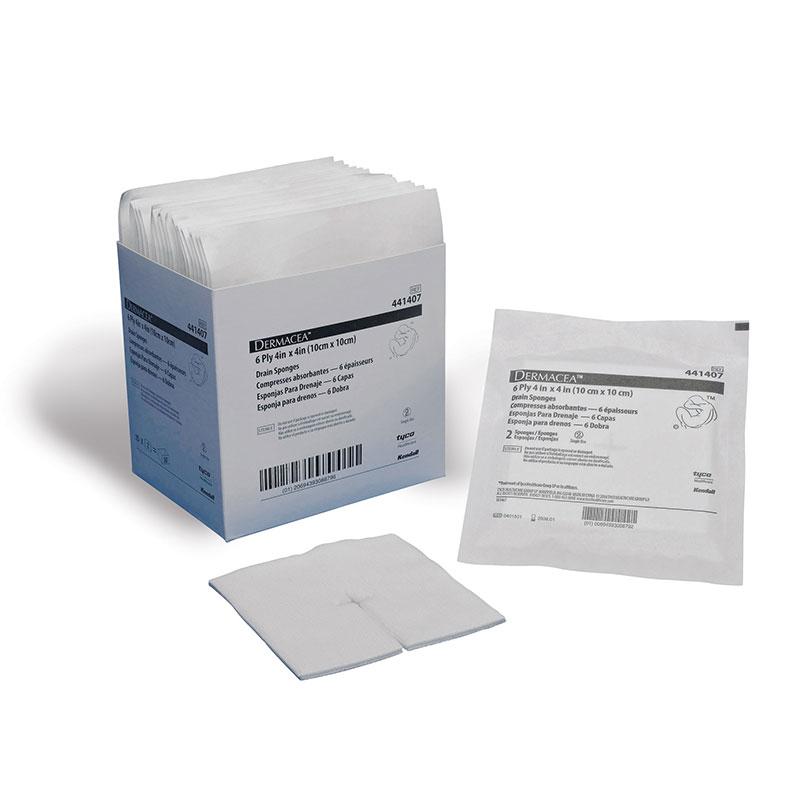 Covidien Dermacea 6-Ply Sterile Drain Sponge 4x4 25ct Case of 4