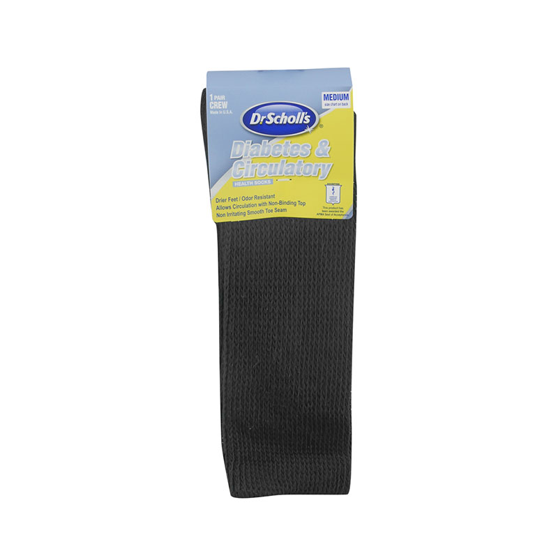 Dr. Scholl's Diabetes & Circulatory Crew Socks Black XL - 6/pk