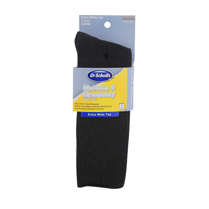 Dr. Scholl's Diabetes & Circulatory Wide Leg Crew Socks Black XL 3/pk