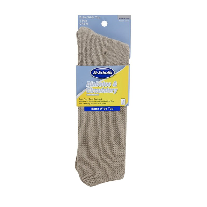 Dr. Scholl's Diabetes & Circulatory Wide Leg Crew Socks Khaki XL 3/pk