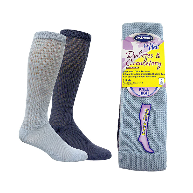 Dr. Scholl's For Her Knee High Diabetes Socks Size 4-10 6pr Blue/Denim