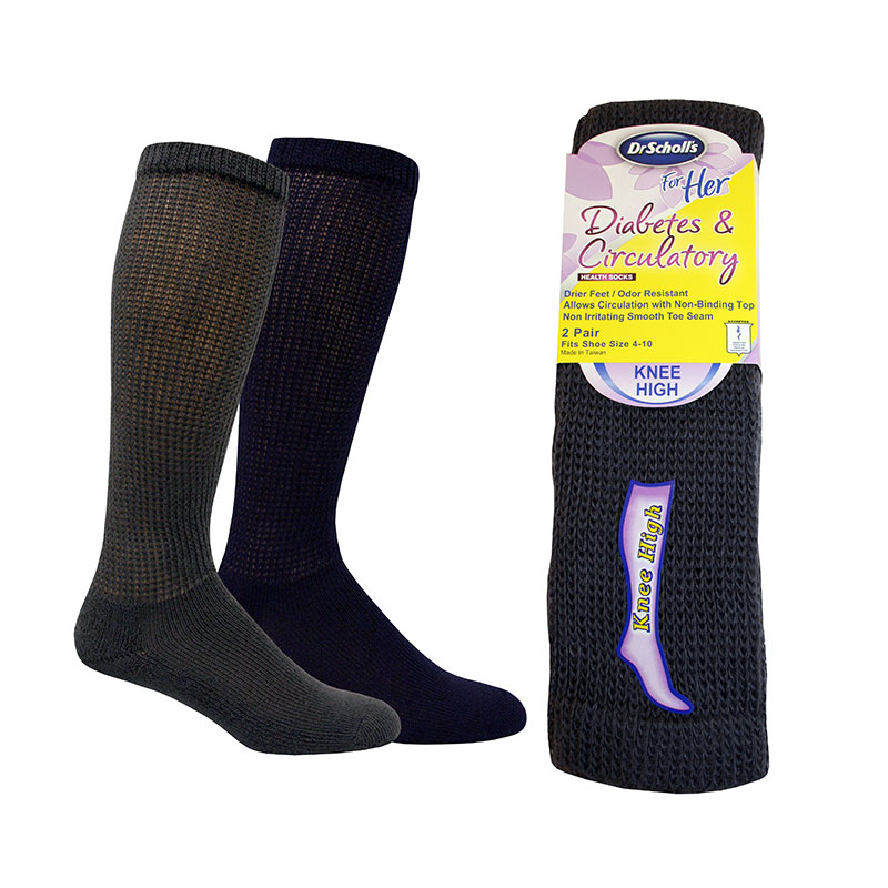 Dr. Scholls For Her Knee High Diabetes Socks Size 4-10 - Charcoal/Navy