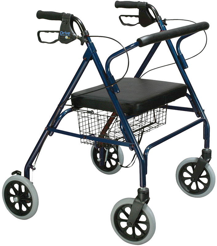 Drive Medical Bariatric Rollator w/Padded Seat and Loop Locks Blue