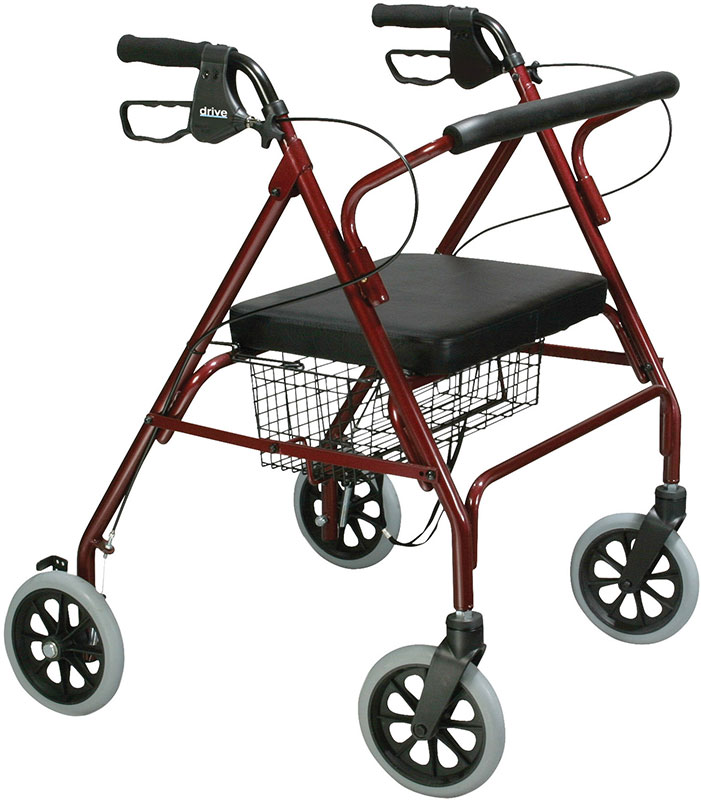 Drive Medical Bariatric Rollator w/Padded Seat and Loop Locks Red