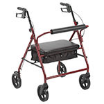 "Drive Medical Bariatric Rollator with 8"" Wheels Red thumbnail"