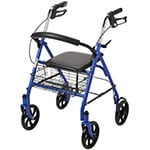 Drive Medical 4-Wheel Rollator w/Fold Up Back Support Blue thumbnail
