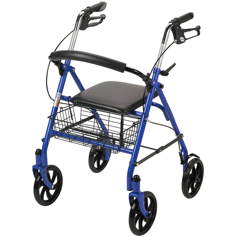 Drive Medical 4-Wheel Rollator w/Fold Up Back Support Blue