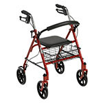 Drive Medical Four Wheel Rollator Walker w/Fold Up Back Support Red thumbnail