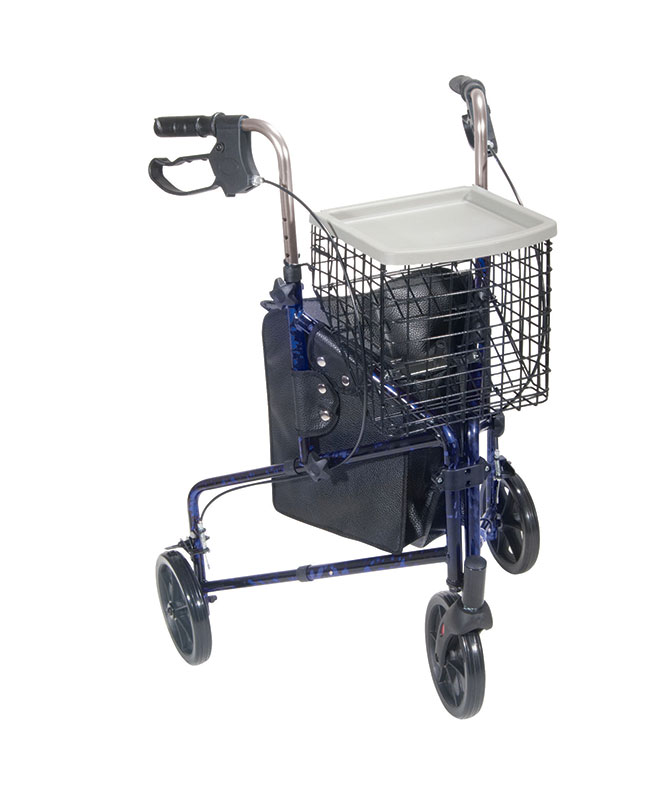 Drive Medical 3 Wheel Rollator With Basket Tray & Pouch Blue