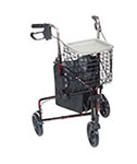 Drive Medical 3 Wheel Flame Red Rollator Walker w/Basket Tray & Pouch thumbnail