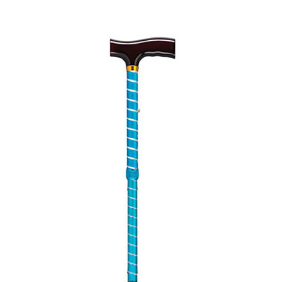 Drive Medical Lightweight Adjustable Folding T Handle Cane Blue Twist