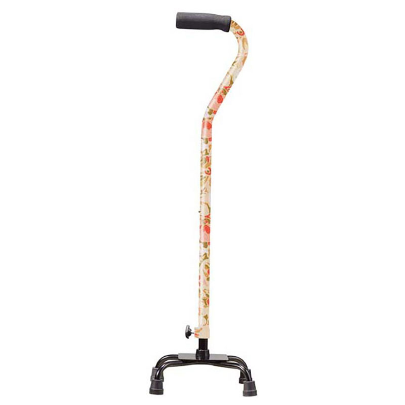 Drive Medical Designer Color Quad Cane w/Foam Rubber Grip Floral