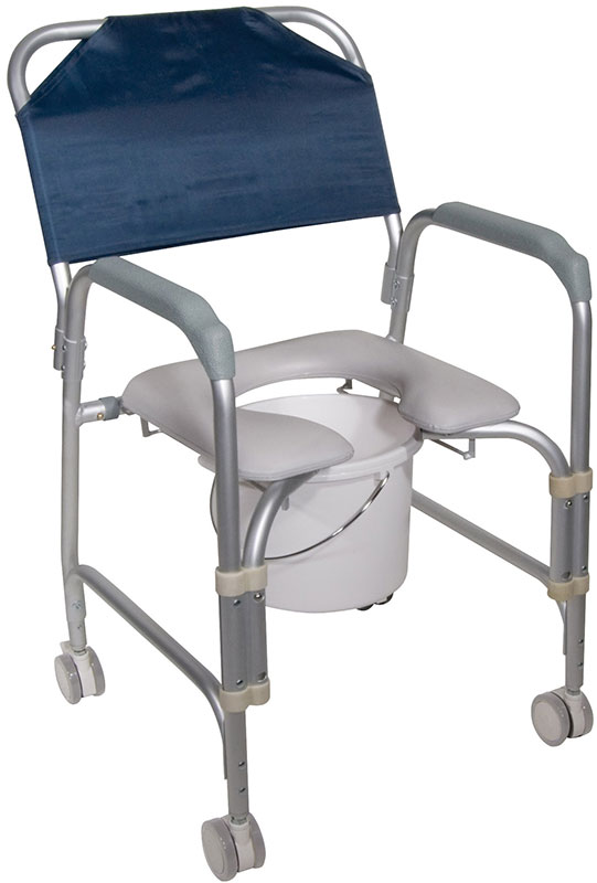 Drive Medical Aluminum Shower Chair and Commode w/Casters