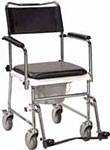 Drive Medical Portable Wheeled Drop Arm Bedside Commode - Chrome