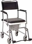Drive Medical Portable Wheeled Drop Arm Bedside Commode - Silver Vein