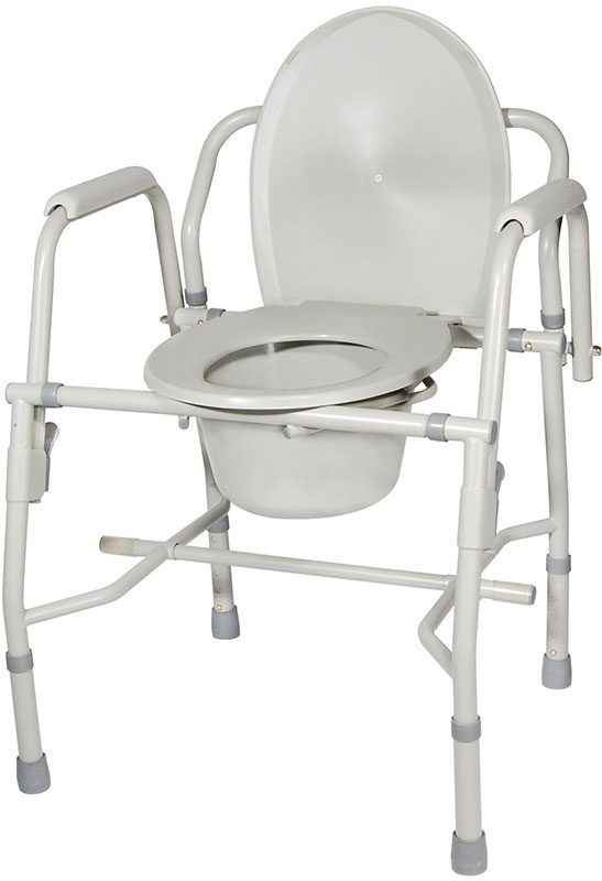 Drive Medical Steel Drop Arm Bedside Commode w/Padded Arms