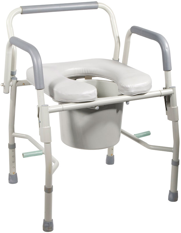 Drive Medical Steel Drop Arm Bedside Commode w/Padded Seat & Arms