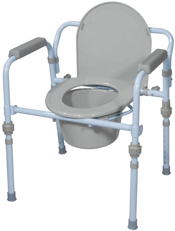 Drive Medical Folding Bedside Commode Seat w/Bucket and Splash Guard