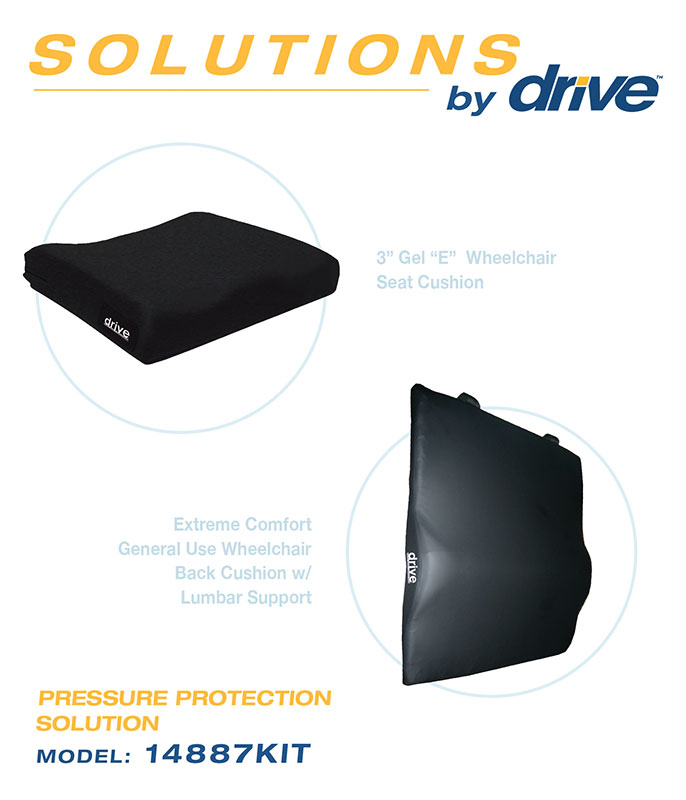 Drive Medical Foam Wheelchair Back and Seat Cushion Bundle