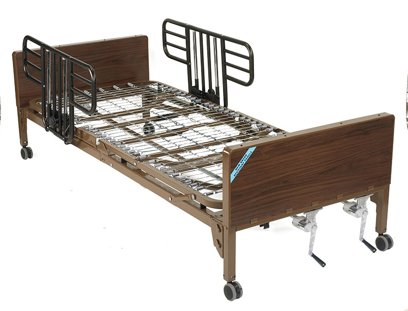Drive Medical Multi Height Manual Hospital Bed with Half Rails
