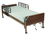 Drive Medical Multi Height Hospital Bed w/Half Rails & Therapeutic Support Mattress thumbnail