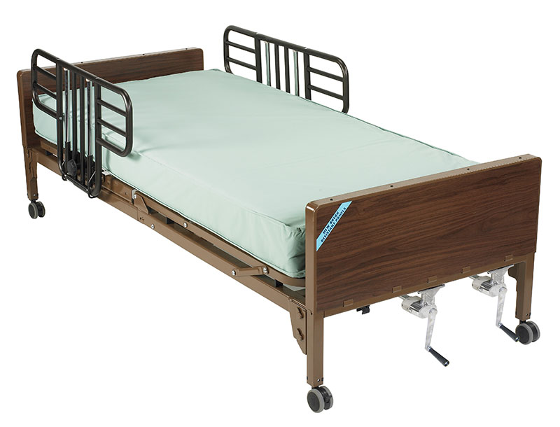 Drive Medical Multi Height Hospital Bed w/Half Rails &  Mattress