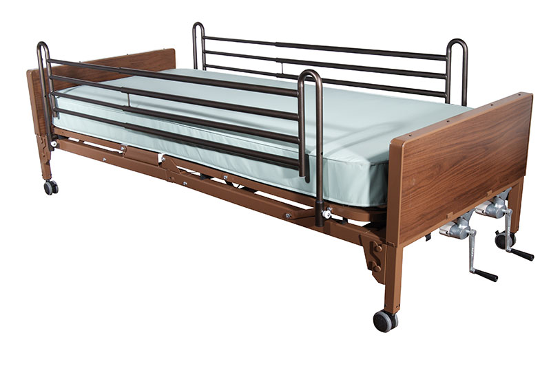 Drive Medical Multi Height Hospital Bed w/Full Rails & Foam Mattress