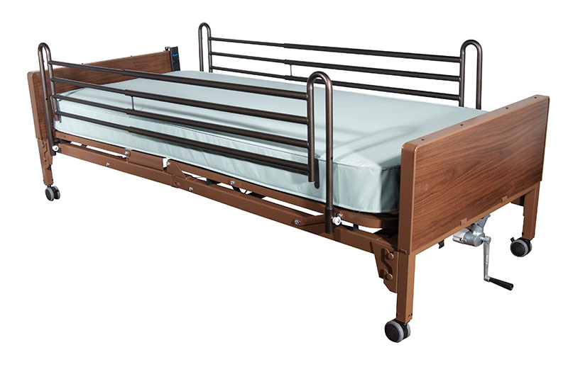 Drive Medical Semi Electric Bed with Full Rails and Foam Mattress