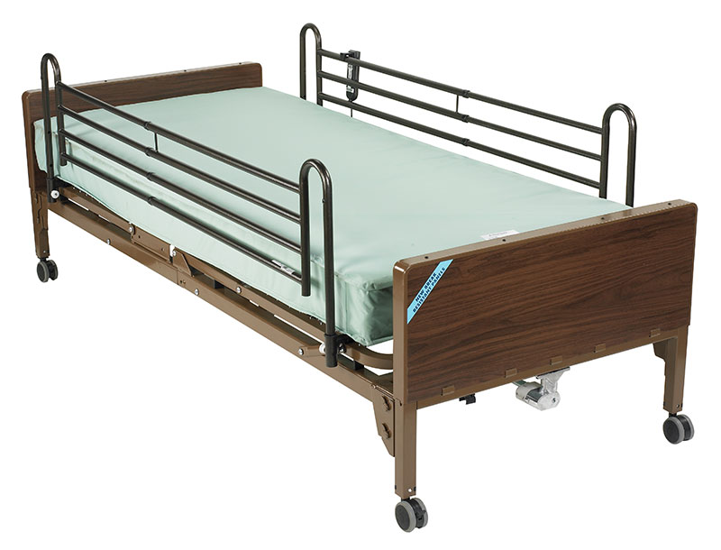 Drive Medical Delta Electric Bed w/Full Rails & Mattress 15030BVPKGT