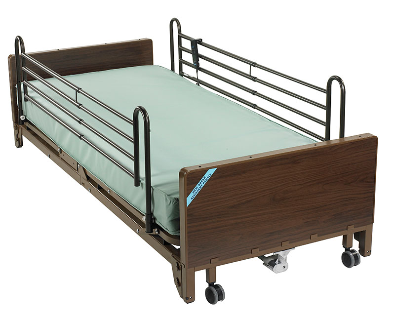 Drive Medical Delta Ultra Light Electric Low Bed w/Rails & Mattress