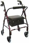 Drive Medical Mimi Lite Deluxe Aluminum Rollator Flame Red