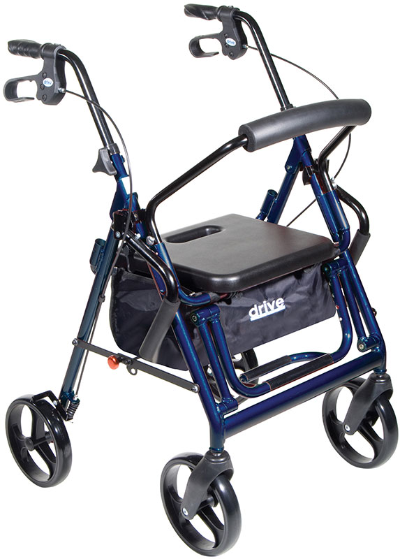 Drive Medical Duet Transport Wheelchair Chair Rollator Walker Blue