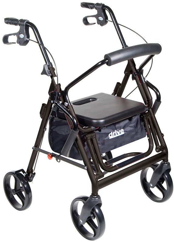 Drive Medical Duet Transport Wheelchair Chair Rollator Walker Black