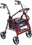 Drive Medical Duet Transport Wheelchair Chair Rollator Walker Burgundy