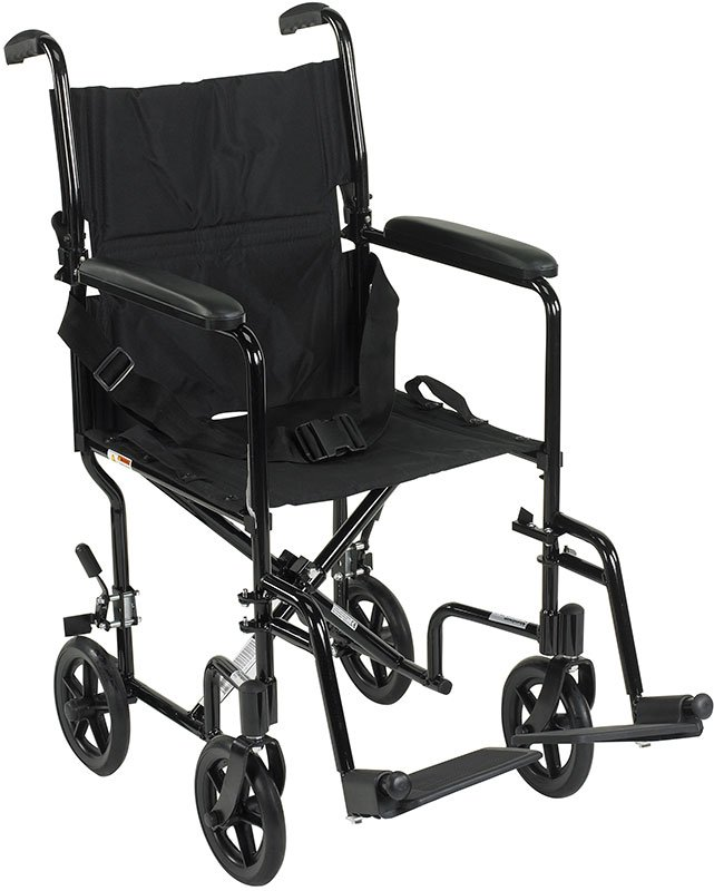 Drive Medical 17 inch Deluxe Lightweight Transport Wheelchair - Black