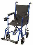 "Drive Medical 17"" Deluxe Lightweight Transport Wheelchair - Blue thumbnail"
