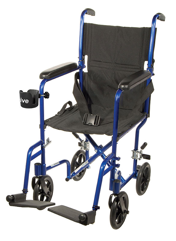 Drive Medical 17 inch Deluxe Lightweight Transport Wheelchair - Blue