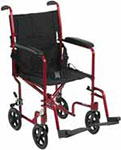 "Drive Medical 17"" Deluxe Lightweight Transport Wheelchair - Red thumbnail"