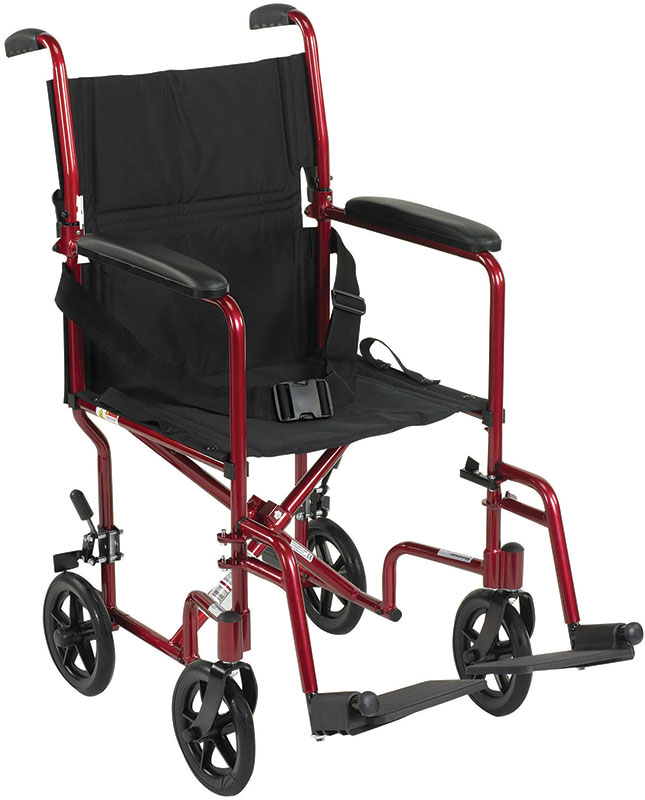 Drive Medical 17 inch Deluxe Lightweight Transport Wheelchair - Red