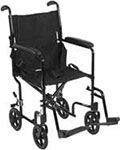"Drive Medical 19"" Deluxe Lightweight Transport Wheelchair - Black thumbnail"
