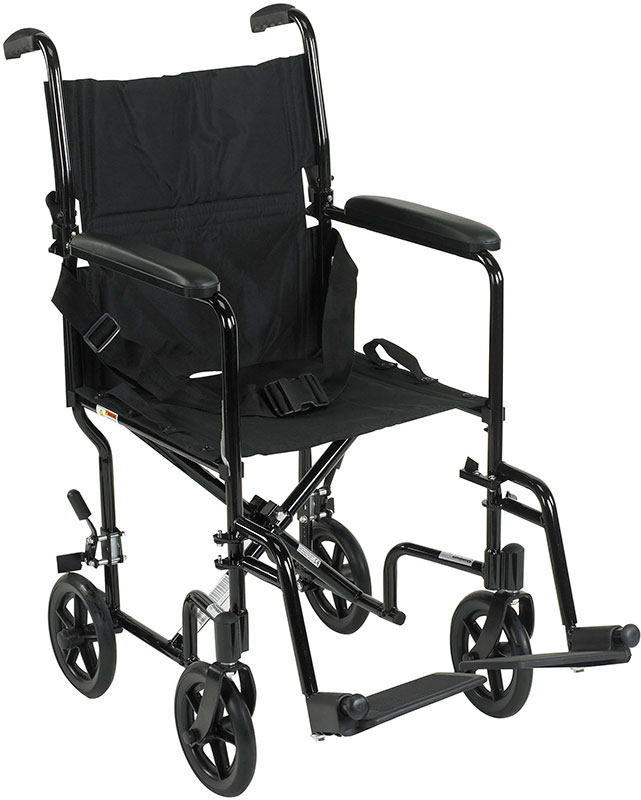 Drive Medical 19 inch Deluxe Lightweight Transport Wheelchair - Black