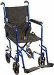 "Drive Medical 19"" Deluxe Lightweight Transport Wheelchair - Blue thumbnail"