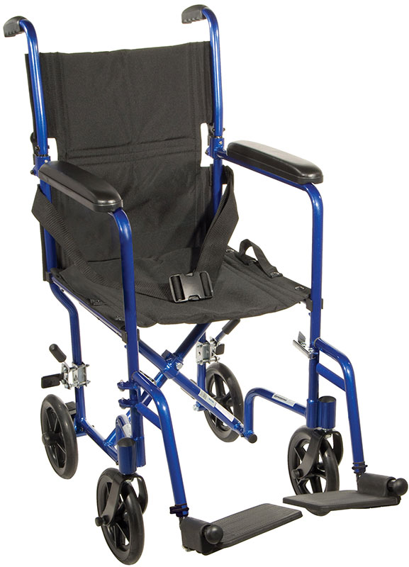 Drive Medical 19 inch Deluxe Lightweight Transport Wheelchair - Blue