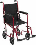"Drive Medical 19"" Deluxe Lightweight Transport Wheelchair - Red thumbnail"